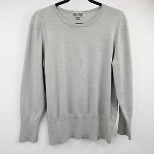 JM Collection Metallic Buttoned Sleeve Sweater
